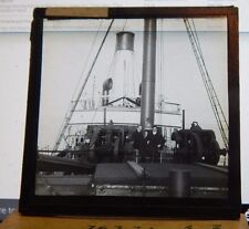 Antique Glass slide Merchant Ship Bridge Gibraltar 1930's