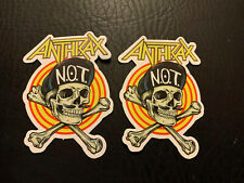 """Lot of 2 Anthrax 3"""" x 2"""" Band Logo Stickers N.O.T. Skull Fast! Free"""