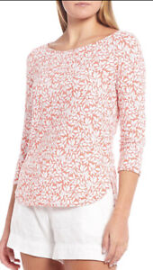 TOMMY BAHAMA ASHBY Stretch Vivid Vines 3/4 SLEEVE TEE Fade Pink SIZE S - Nwt