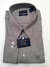 JOHN ASHFORD Men's FITTED BLACK CHECK Long Sleeve Shirt NWT Size XL 17.5 32/33