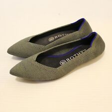 Rothy's Olive Birdseye The Point Ballet Flats Size 6 Slip On Shoes Recycled