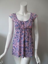SWEET PEA Pink Blue Floral Babydoll Cap Sleeve Stretch Mesh Top S