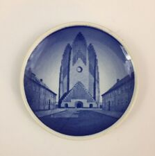 "Denmark Grundtvigs-Kirken Blue and White Butter Pat - 3.25"" / Miniature Plate"