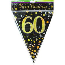 SPARKLING FIZZ BLACK AND GOLD 60TH BIRTHDAY PARTY FLAG BANNER DECORATION 3.9M