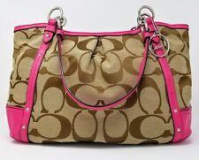 Coach - Alexandra Signature Khaki and Pink Jacquard Fabric Leather Shoulder Bag