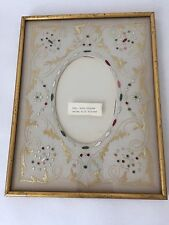 Antique Hand Embroidered Silk Mat Gilt Picture Frame under Glass 8 1/2 x 11 (S2)