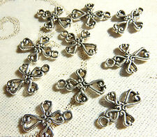 10 LACEY CROSS SILVER CHARMS CRAFT JEWELLERY MAKING BRACELET PENDANT