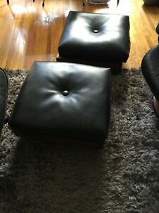 Vintage Mid Century Modern Walnut & Cohyde Rolling Hassock Ottoman PAIR Founders