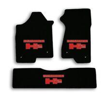 2008-2009 Hummer H2 - Black Velourtex Carpet 3pc Mat Set - Red Hummer H2 Logo