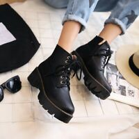 Womens Fashion Punk Lace Up Gothic Chunky Block Heels Platform Ankle Boots SZ