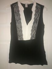 Stunning H&M Lace Plunge V Neck Summer Blouse Top Size S UK 8-10