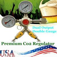 NEW Pro Series CO2 Beer Regulator Dual Output Double Gauge-Homebrew Kegerator US