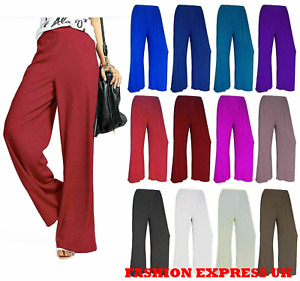 Womens Palazzo Trousers Plus Size Plain Ladies Baggy Wide Leg Flared Pants 8-26