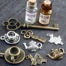 DRAWER Lot 99 Steampunk key Alice in Wonderland necklace charm tea pot cup 10pcs