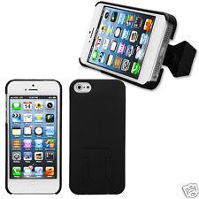 APPLE iPHONE 5 CASE BACK COVER W/KICKSTAND HARD CASE PHONE ACCESSORY BLACK