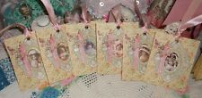 6 Antique Colorized Photo REPRO Girls Gift Tags Pinks Handmade Glitter