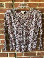 Lucky Brand Women's Shirt Top Paisley Sheer Peasant Keyhole Tie Neck Blouse Sz S