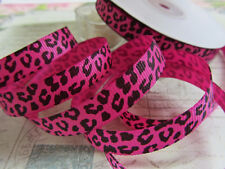 "25 yards Wild Animal Leopard Grosgrain 3/8"" Ribbon 9mm/Craft R112-Hot Pink"