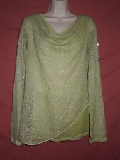 LOLA Maglia made in Italy size S green top knit sweater sequins roll up sleeves