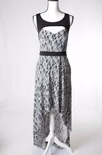 Guess Women Black White  Cutout High-low Maxi Dress Size 8 (U)