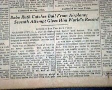 Rare BABE RUTH Catches Baseball from AIRPLANE for World Record 1926 NY Newspaper