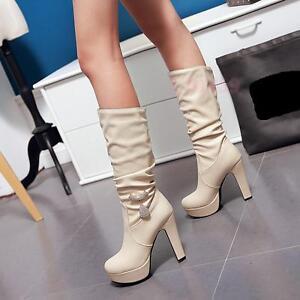 Damen wadenhohe stiefel strass Eleganten neue runde zehe hohe schmalen Absätze