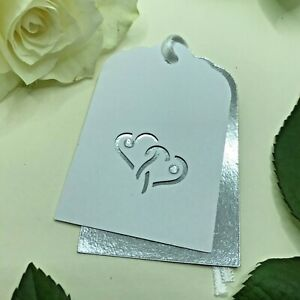 6 Handmade Silver Hearts Double Layer Gift Tags - Wedding Anniversary Engagement