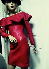 Womens Vintage Couture 80's Michael Hoban North Beach Red Leather Dress  XS