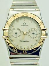 Estate ~ Omega Constellation Chronograph 18k Gold & SS Classic Creme Dial Watch