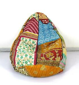 Handmade Quilted Kantha Cotton Floral Bohemian Bean Bag Pouffe Hassock Seat