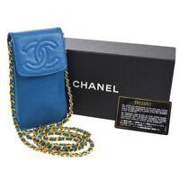 Authentic CHANEL CC Chain Shoulder Bag Pochette Blue Caviar Skin AK16966d