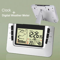 LCD Digital Snooze Alarm Clock Thermometer Hygrometer Weather Station Calendar