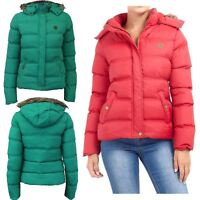 New Womens Funnel Neck Fur Hooded Padded Quilted Winter Coat Puffer Parka Jacket