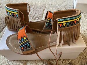 Aztec Fringe boho sandals size 5