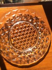 Vintage Crystal Salad Plate Geometric Patterns Set Of 4