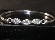 Sterling Silver 925 designer Paul Kennedy Marquise shaped Cubic Zirconia bangle
