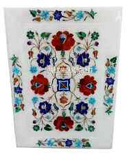 """14""""x10"""" White Marble Serving Plate Floral Mosaic Inlay Kitchen Decor Gifts H2833"""