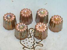 Lot de 6 moules à cannelés Bordelais hauteur 5 / 5,5 cm Ø 5,5 cm en cuivre étamé