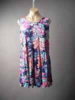 Sale Bright Colorful Floral Print Casual Babydoll Tank Sun 196 mv Dress M L XL