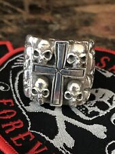 Heavy Duty 4 Skull Cross Ring,opie,SOA ,81 BWL Outlaw Biker