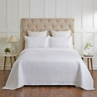 Renee Taylor Madrid 100% Cotton Quilted Coverlet Set White