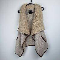 Love Tree Women's Tan Beige Wool & Faux Fur Vest (Size S)