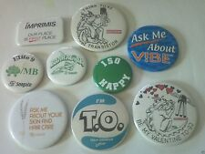 9 Vintage Pinback Advertising Slogan Buttons - Seagate, Redken, ISO, Fairchild