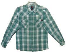 Sz L DICKIES Long Sleeve Plaid Western Shirt Green 100% Cotton