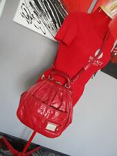 Escada Red Leather Large Tote Shoulder Bag Purse Hobo Handbag silver Hardwear