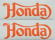2 x fancy GLOSS ORANGE  cafe racer style honda motorcycle tank decals stickers