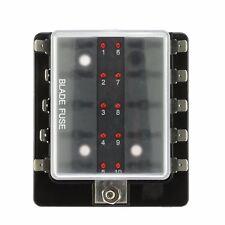 10 Way With LED Indicators Warning Blade Fuse Holder Fuse Box 12V Boat Car Van