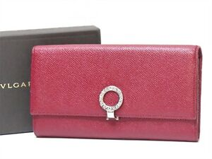 Auth BVLGARI B-ZERO Leather Long Wallet Red Italy 18637541