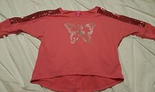 Girls Pinky 3/4 Quarter Sparkly Pink Butterfly High Low Cute Shirt Sz S (7/8)