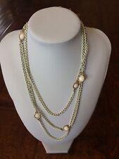 Monet Long White Enamel metal chain necklace w/ gold tone white mini medallions